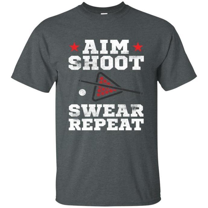Vintage Billiards Aim Shoot Swear Repeat Pool Men T-shirt, Vintage Billiards