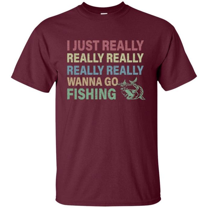 I Just Really Really Wanna Go Fishing Vintage Men T-shirt, Go Fishing Vintage