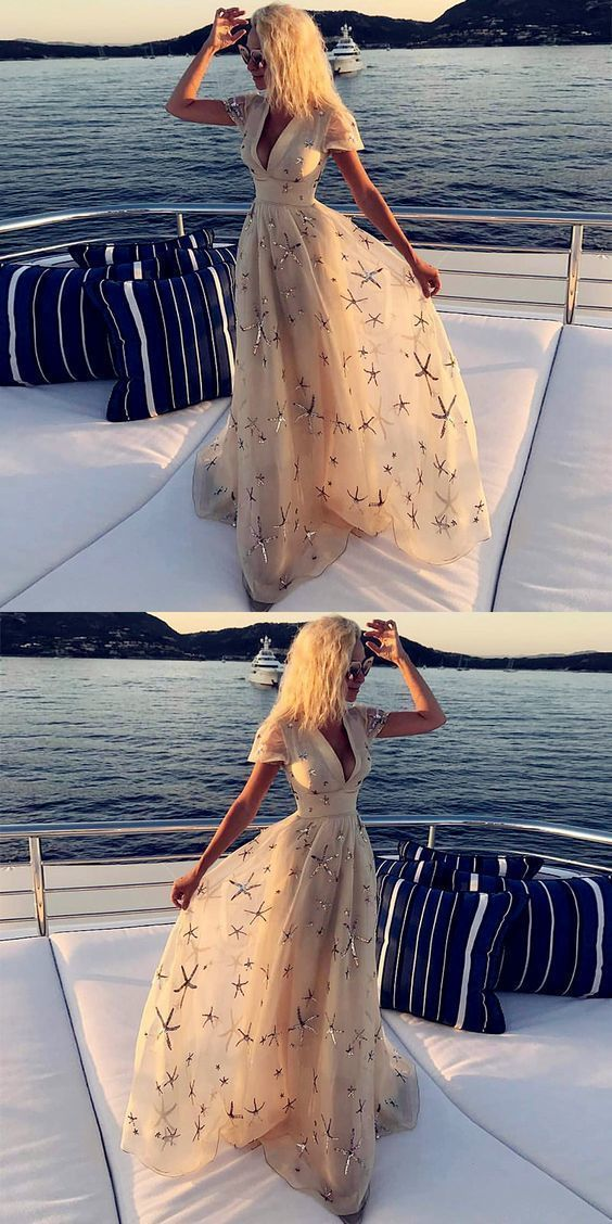 Deep V-Neck Light Champagne Long Prom Dress with Sleeves Appliques