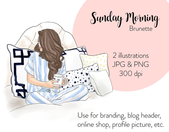 Watercolor fashion illustration - Sunday Morning - Brunette