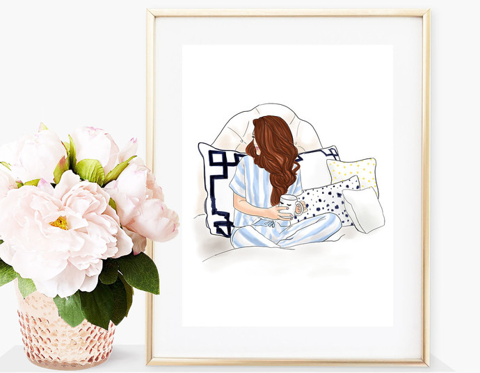 Watercolor fashion illustration - Sunday Morning - Redhead