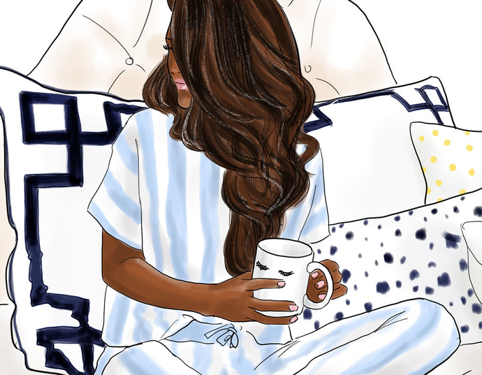 Watercolor fashion illustration - Sunday Morning - Dark Skin