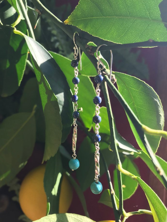 Turquoise and Lapis Lazuli 925 Sterling Silver Dangle Earrings - 20% Donated to