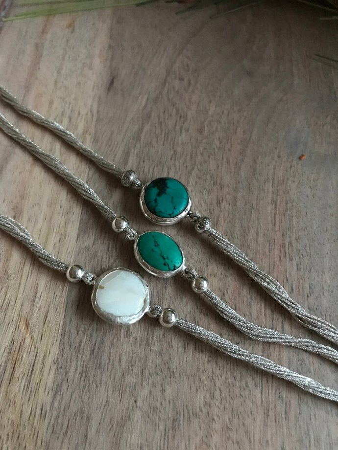 Mother of Pearl / Turquoise 925 Sterling Silver Threaded Bracelet - 20% Donated