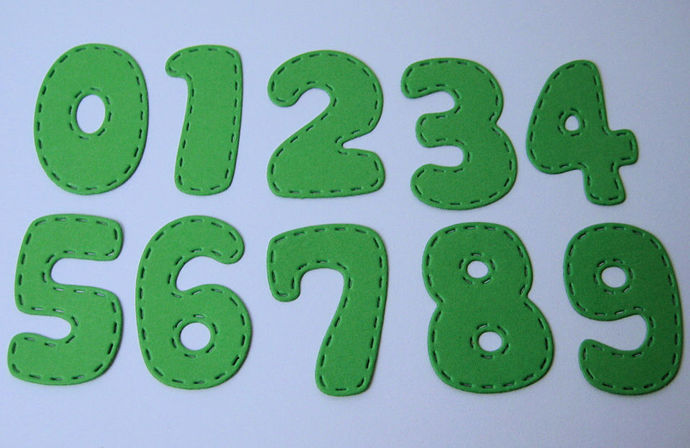 Numbers with Stitched Edge Metal Cutting Die Style #2
