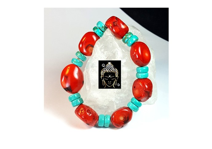 RED CORAL BRACELET WITH TURQUOISE.
