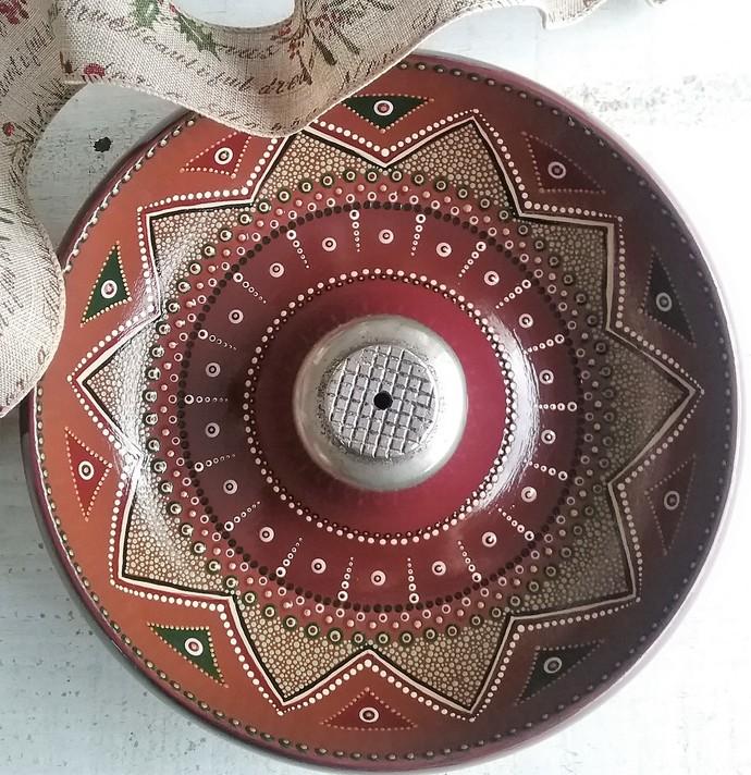 Handpainted, Dotted, Vintage, Re-purposed wooden, nut bowl, OOAK