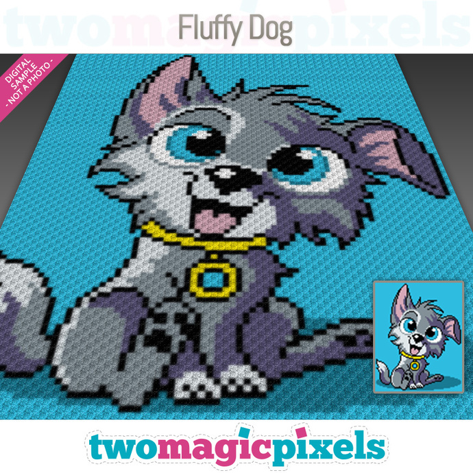 Fluffy Dog crochet graph (C2C, Mini C2C, SC, HDC, DC, TSS), cross stitch,