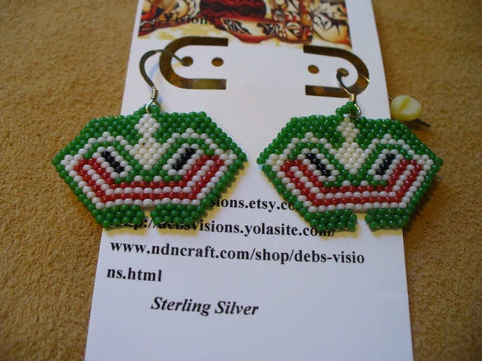 Native American Style Brick Stitched North Coastal Frog Earrings in Green white