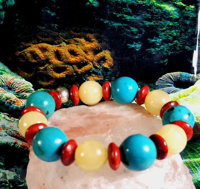 CORAL WITH YELLOW CALCITE AND TURQUOISE.