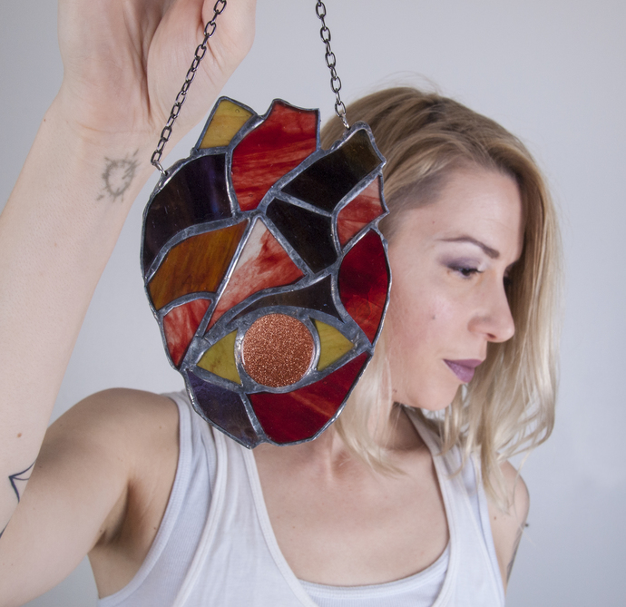 """Knowing Heart"" Stained Glass Talisman with Sunstone"