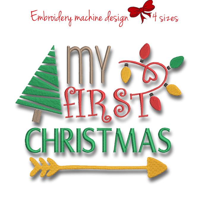 My first Christmas machine embroidery design pes instant digital download