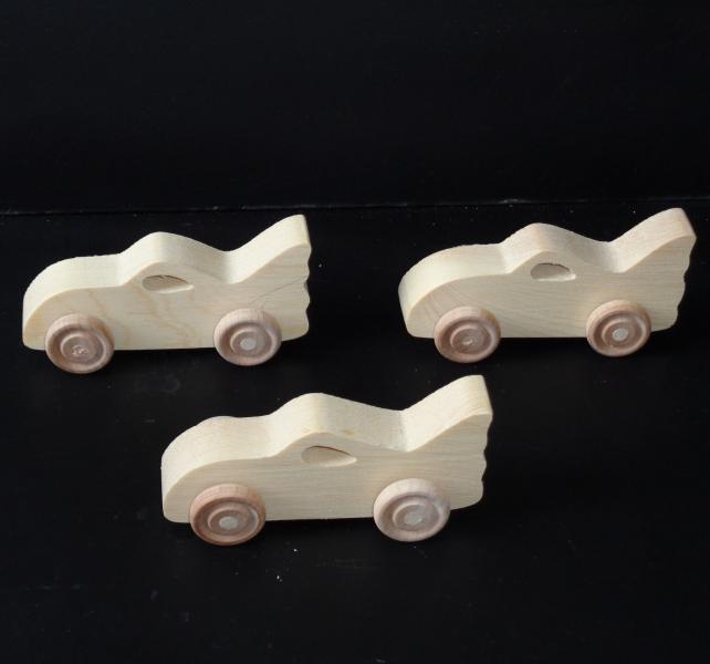 Pkg of 3 Handcrafted Wood Toy Bat Cars 279AH-U-3 Unfinished or finished