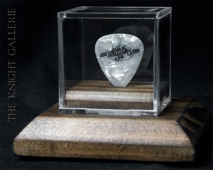 Authentic guitar pick and display case: Hank Williams Jr.