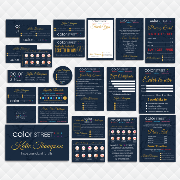 Personalized Color Street Cards, Color Street Marketing Kit, Printable Digital