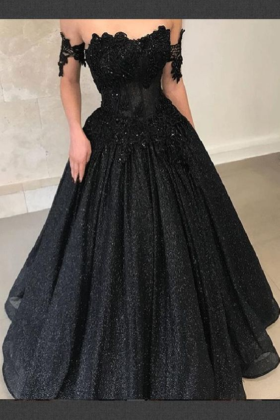 Black Wedding Gown.Cap Shoulder Ball Gown Sexy Black Sweetheart Wedding Dress Evening Dress Full Length Prom Dress