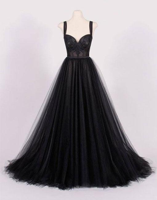 Ball Gown Sexy Black Sweetheart Wedding Dress Evening Dress Full Length Prom