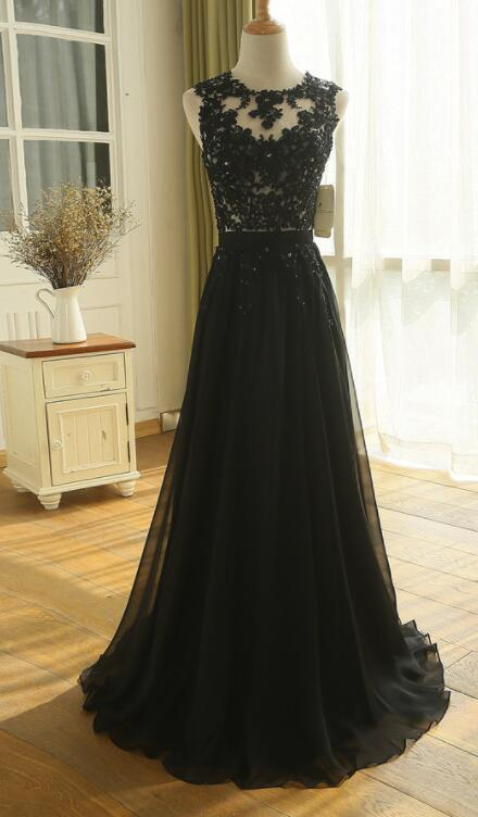 Cap SHoulder A Line Sexy Black Lace Applique Wedding Dress Evening Dress Full