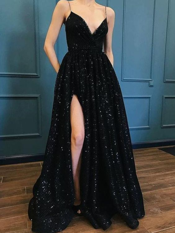 818b795ff1c2 V Neck A Line y Black Tulle Wedding Dress Evening Dress Full Length Prom