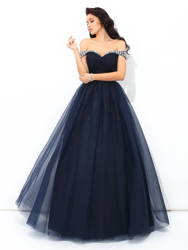 Copy of Ball Gown Off-the-Shoulder Beading Sleeveless Floor-Length Net