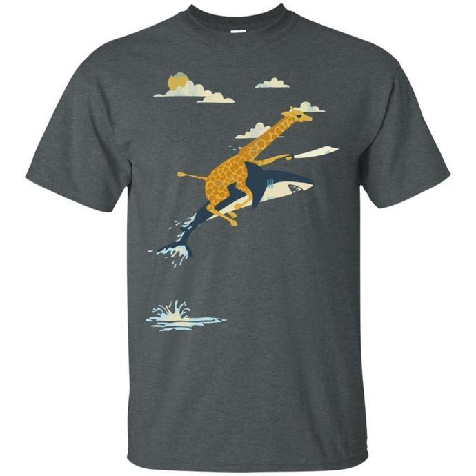 Giraffee Ride Shark Men T-shirt, Giraffee T-shirt, Giraffee Ride Shark Tee,
