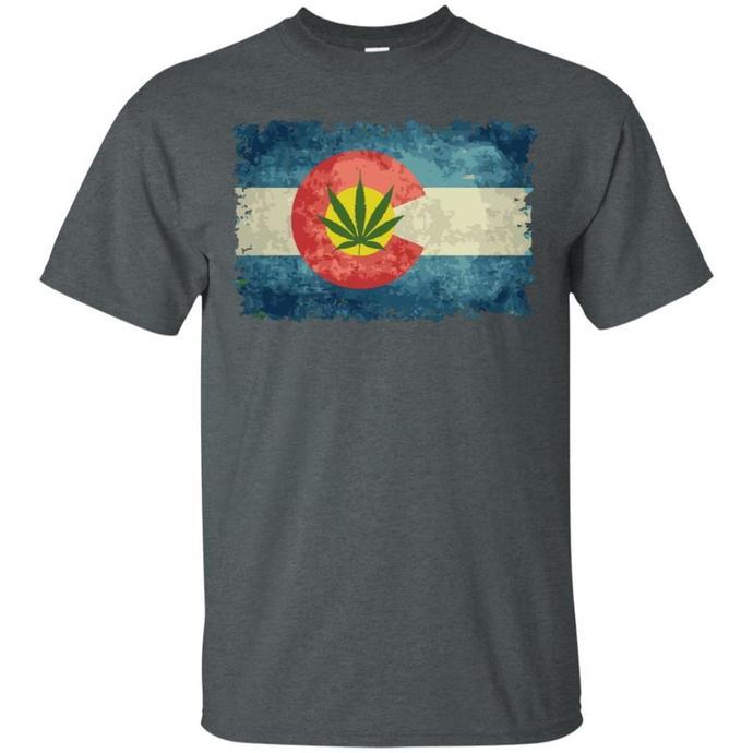 Vintage Colorado Marijuana Leaf Flag Men T-shirt, Vintage Colorado T-shirt,