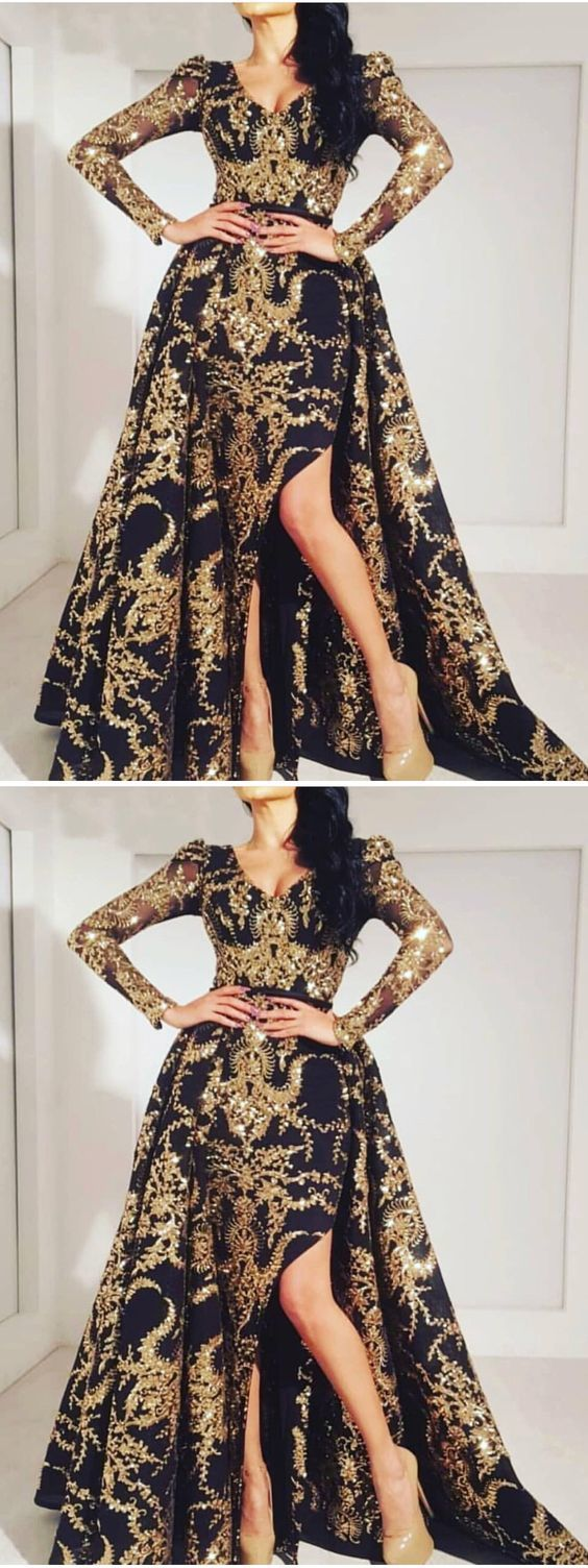 A-line V neck Gold Prom Dresses Long Sleeve Prom Dress Evening Dress