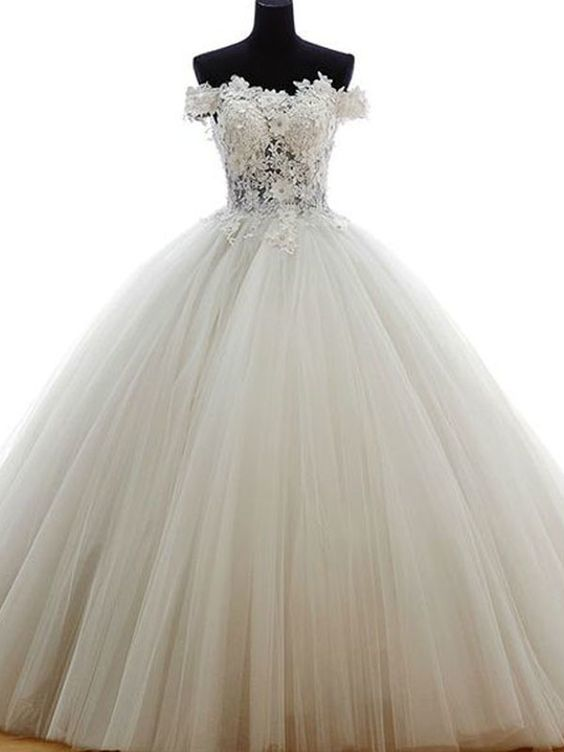Elegant Off the Shoulder Tulle Ball Gown Wedding Dress with Lace Appliques