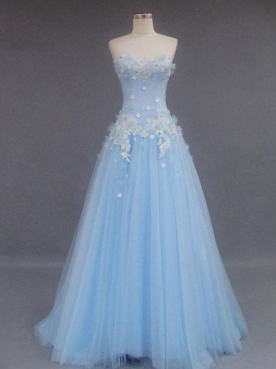 Elegant Light Blue Strapless Tulle Prom Dress, 2019 Long Homecoming Dress