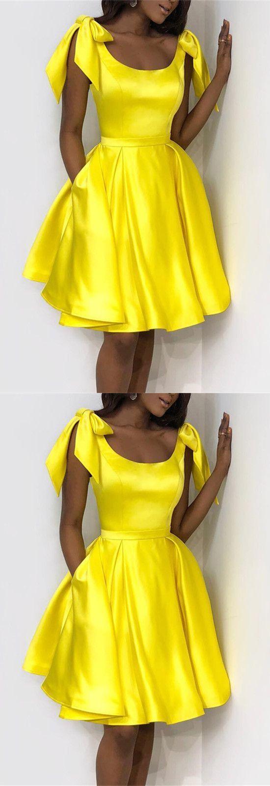 Yellow Bow Shoulder Satin Homecoming Dresses BD2135