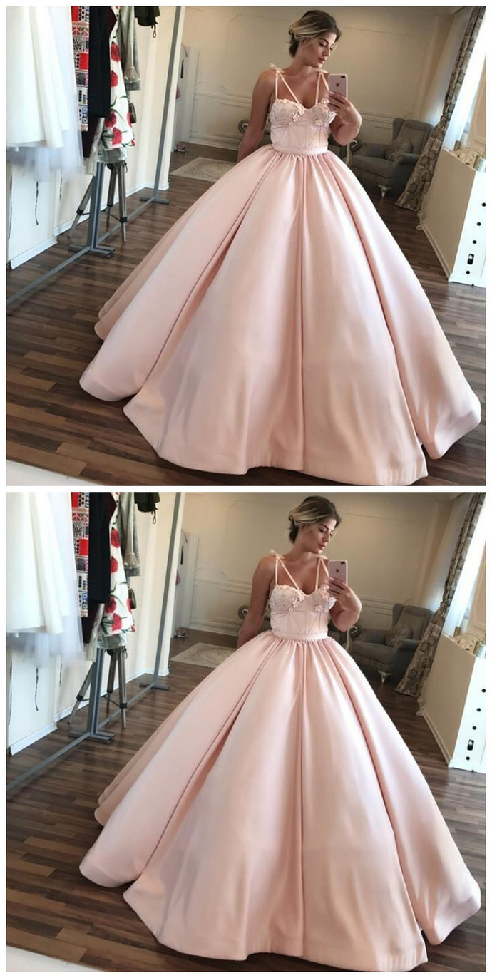 e1f6b88ab9c1 Ball Gown Sweetheart Floor Length Pearl Pink Prom Dress With Appliques  Pleats