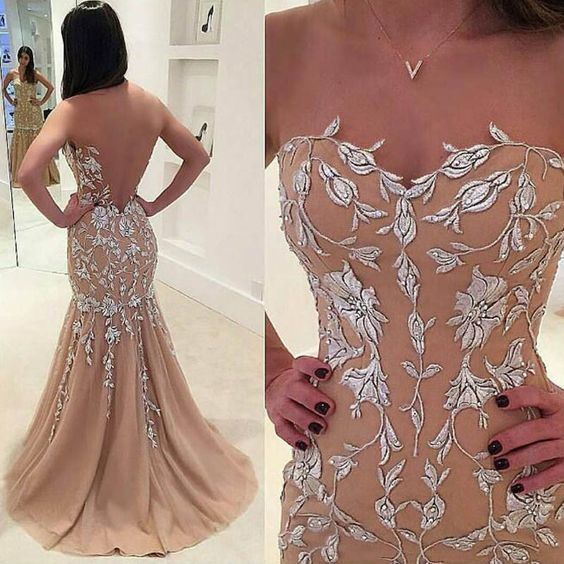 Champagne Prom Dress - Illusion Jewel Sweep Train Illusion Back With Appliques