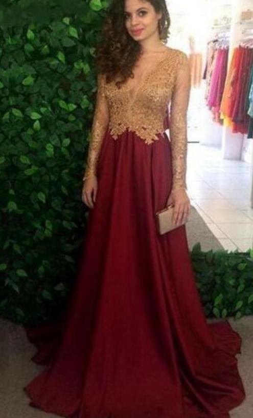 Burgundy Sheer Long Sleeves Prom Dresses Long Sleeves Lace Appliques Top Long