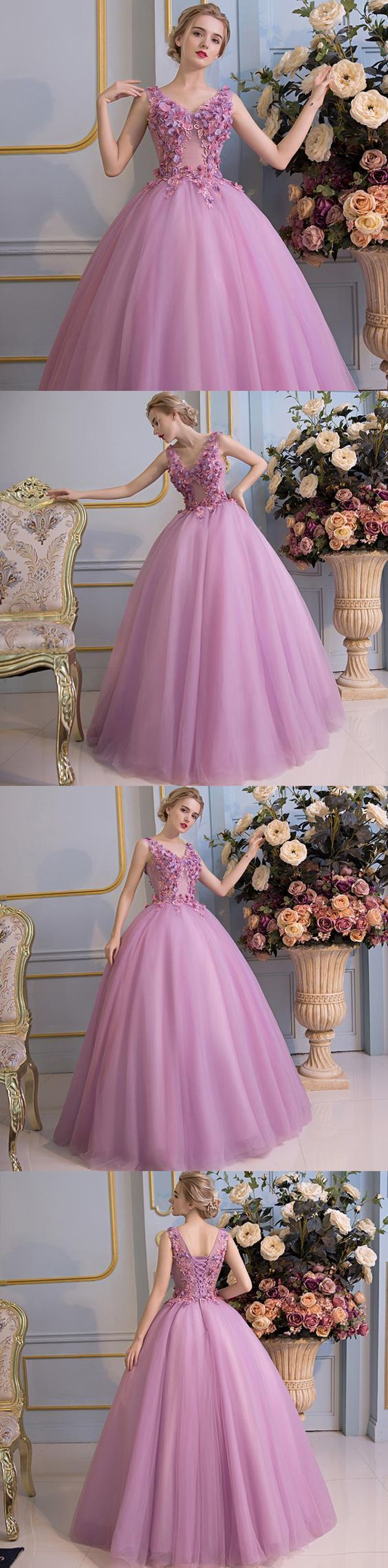 Princess Gorgeous Purple Prom Dress,Handmade Flowers Lace Up Back Ball Gown Prom