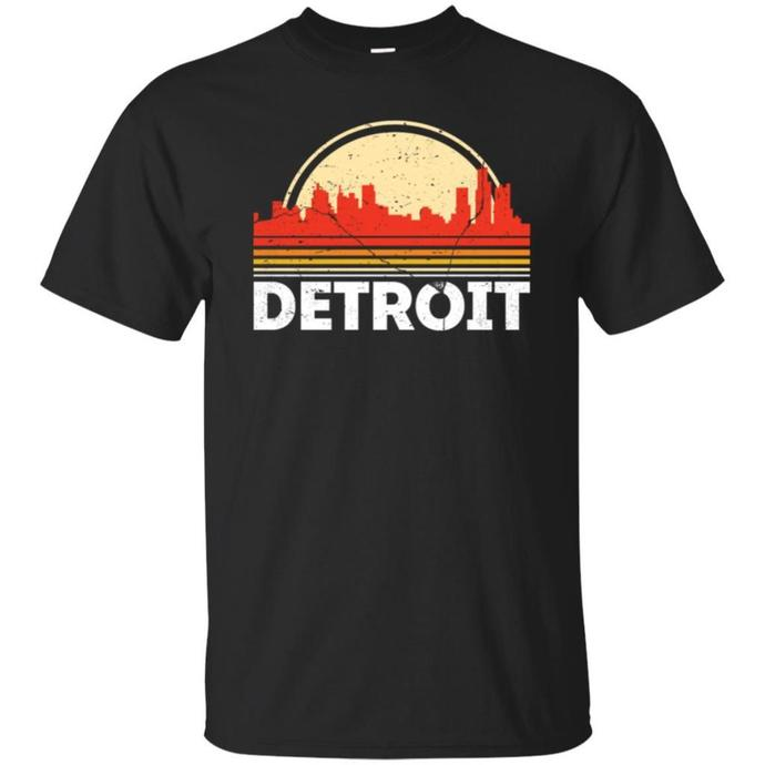 Classic Retro Detroit City Skyline Vintage Men T-shirt, Vintage Detroit City