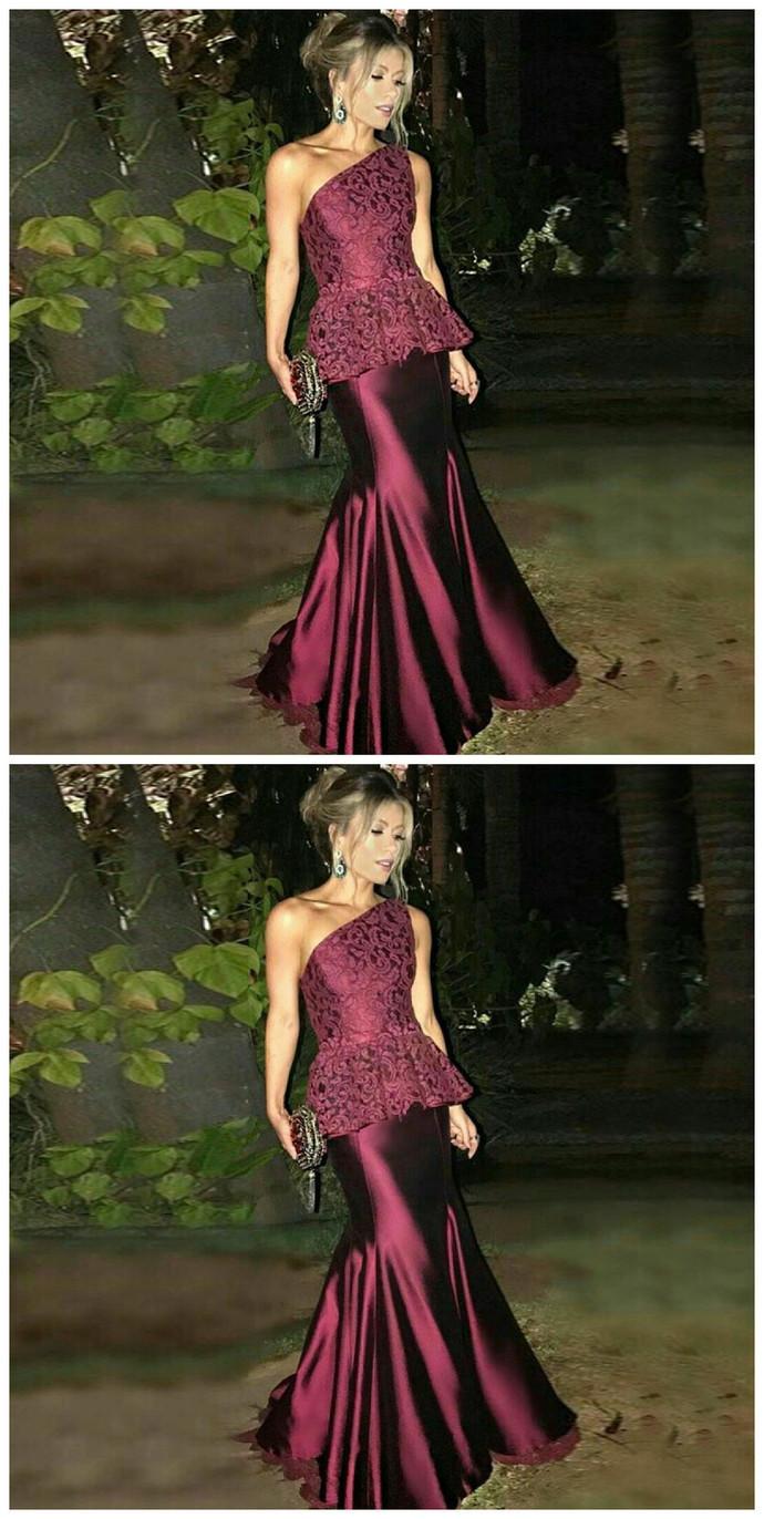 6f17520a3c35 Burgundy Lace Prom Dress Mermaid