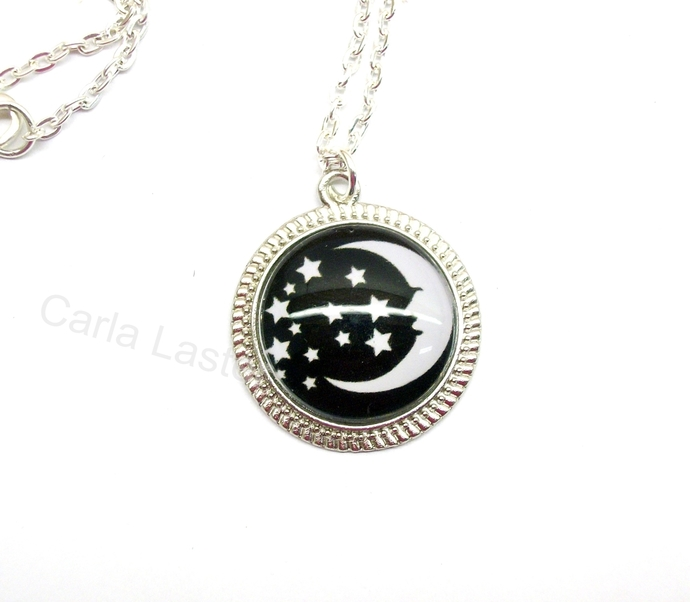 Moon and stars art pendant, black and white pendant necklace, Stocking stuffer,