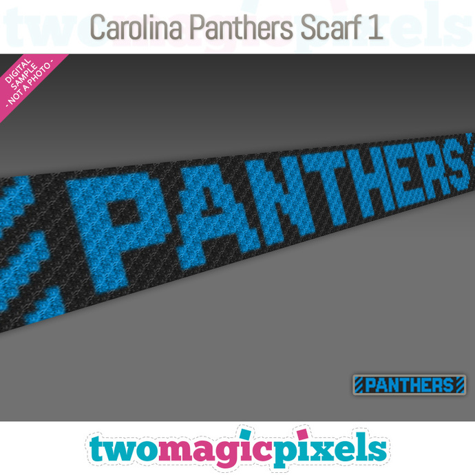 Carolina Panthers Scarf 1 pattern; graph; pdf download; C2C row-by-row counts
