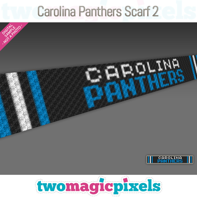Carolina Panthers Scarf 2 pattern; graph; pdf download; C2C row-by-row counts