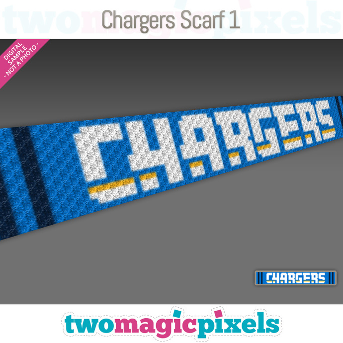 Chargers Scarf 1 pattern; graph; pdf download; C2C row-by-row counts included
