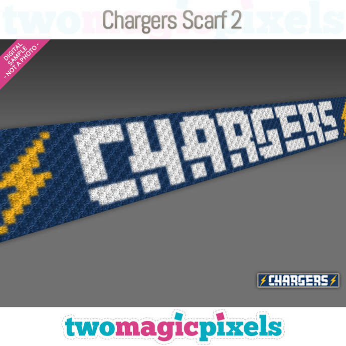Chargers Scarf 2 pattern; graph; pdf download; C2C row-by-row counts included