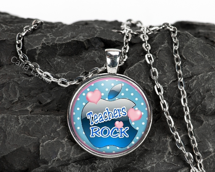 Teacher gift, inexpensive gift for teacher, Blue or Pink necklace, teachers rock