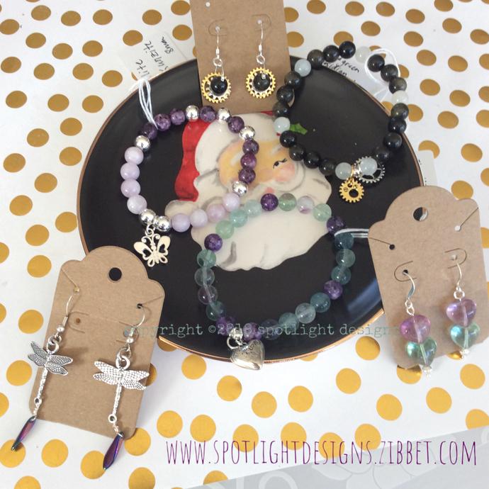 Choice of genuine gemstone stretch bracelet and earring Gift  set