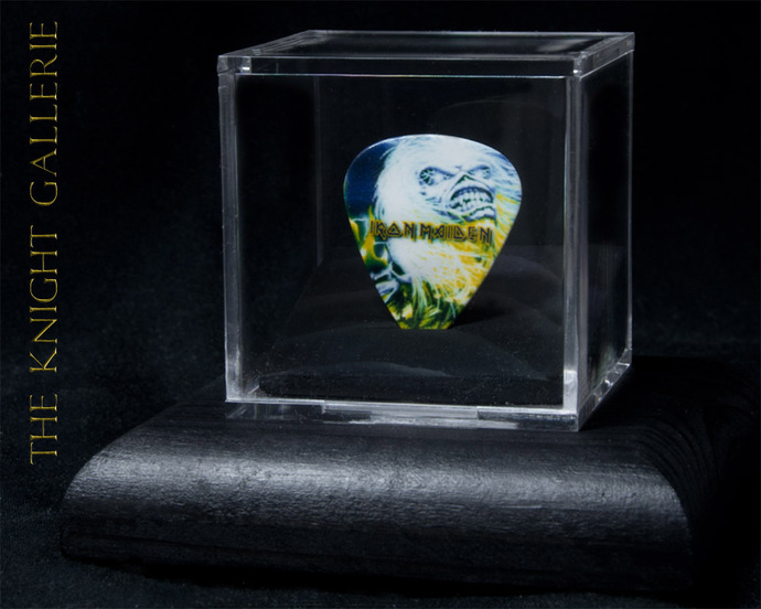 Commemorative guitar pick and display case: Iron Maiden