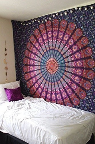 Indian Mandala Tapestry, Indian Hippie Hippy Wall Hanging, Bohemian Queen Wall