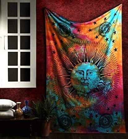 Psychedelic Sun Moon Stars Tie Dye Mandala Tapestry Hippie Hippy Celestial Wall