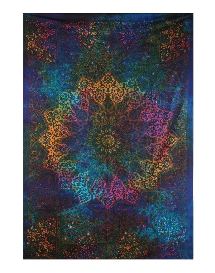 image 0 image 1 Indian Twin Blue Tie Dye Bohemian Elephant Star Mandala Tapestry