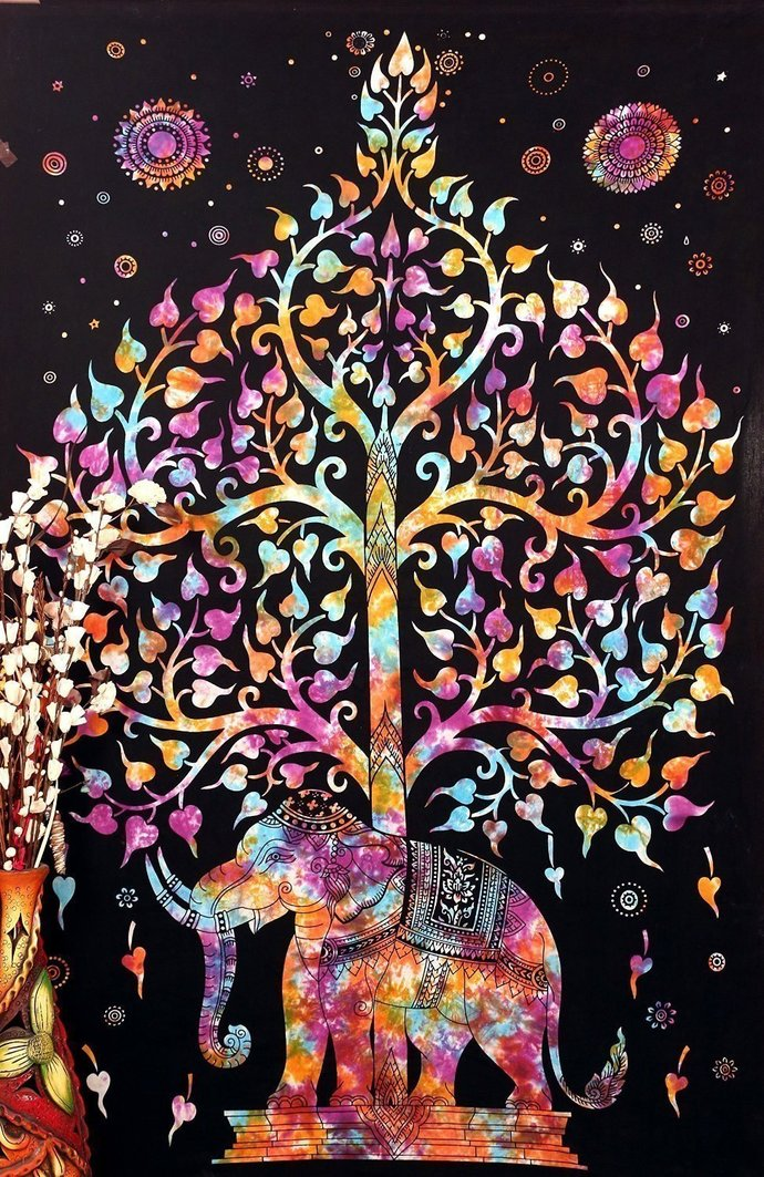 Tree of Life Psychedelic Wall Hanging Elephant Tapestry, Multi/Black,