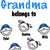 This Grandma belongs to, Add children's names, font is included for kids names,