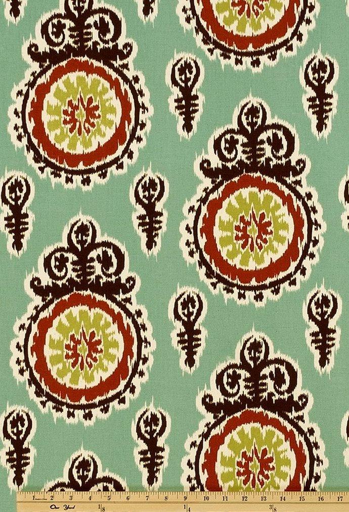 Michelle Village blue fabric.   Premier Prints. cotton. Home decor Fabric.